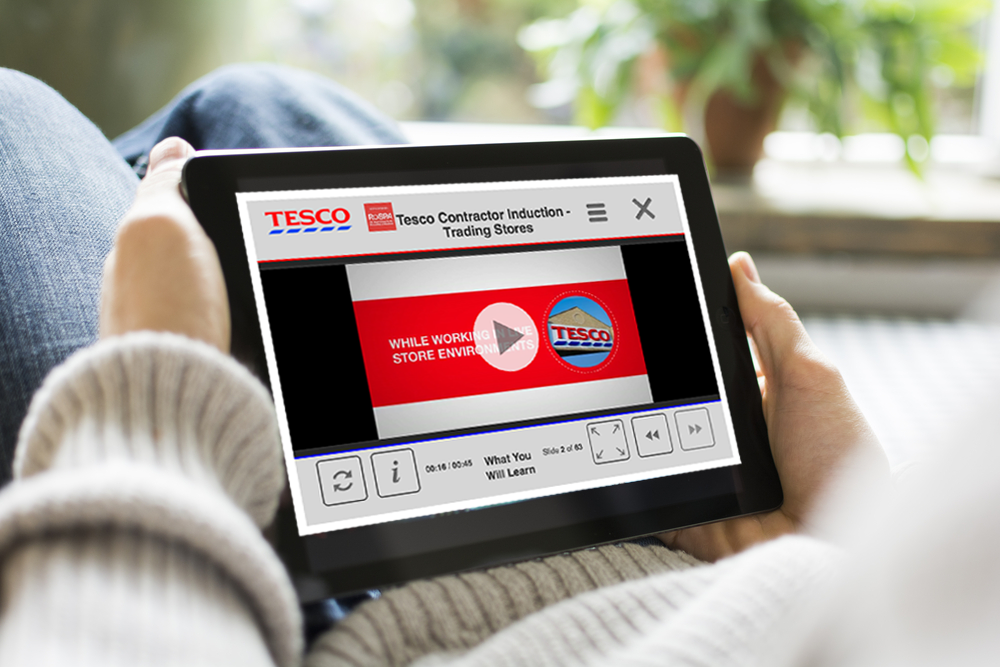 Tesco elearning content on tablet