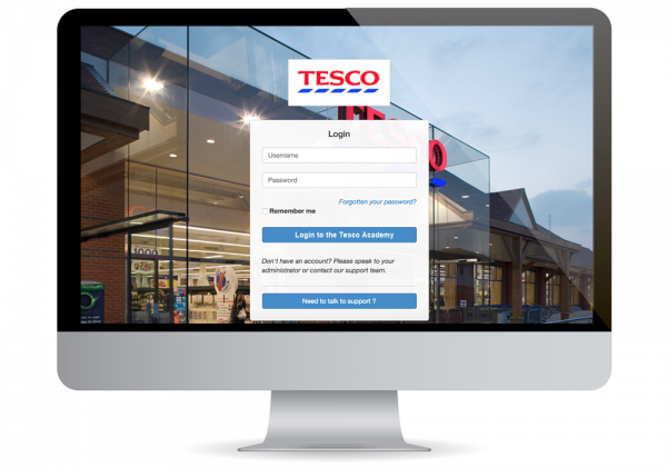 Tesco's custom login screen on elearning course created by Olive Learning